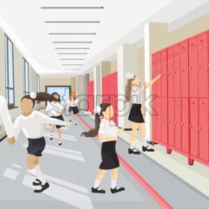 Kids running in the school hall Vector flat style. Back to school concept - starpik
