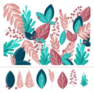 Leaf abstract Vector flat style. Greenery decor. simple trendy background with leaves and plants. floral banner, cover design, poster template - starpik