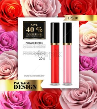 Lip gloss Vector realistic. Premium cosmetics sale. colorful collection set - starpik