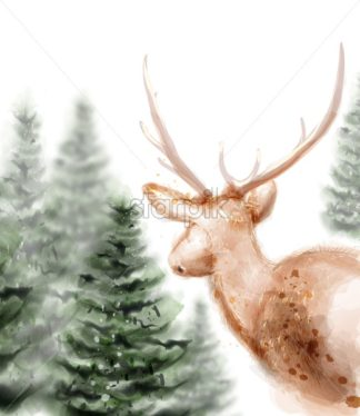 Lonely dear in the woods Vector watercolor. White background - starpik