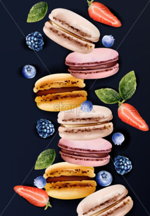 Macaroons Vector watercolor. Vintage pattern desserts with berry fruits. summer texture - starpik