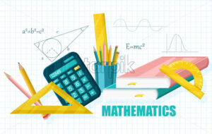 Mathematics School set supplies collection Vector flat style - starpik