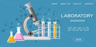 Medical Laboratory Conceptual Vector Illustration. Chemistry tubes. Reasearch, testing, clinique, studies in chemistry, physics, biology Online page template - starpik