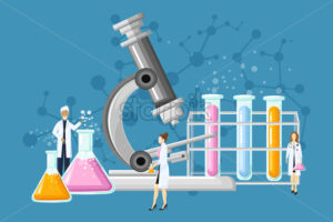Medical Laboratory Conceptual Vector. Chemistry tubes. Reasearch, testing, clinique, studies in chemistry, physics biology illustration - starpik