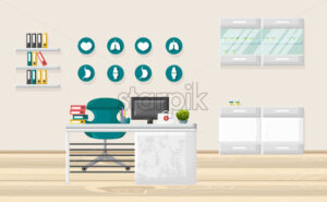 Medical office Vector. Medicine and healthcare concept. flat style template illustration - starpik