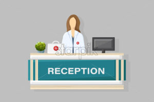 Medical reception Vector flat style. Doctor schedule appointment. Online consultation template - starpik
