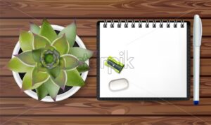 Note poster Vector. Promotion banner concept. White notesbook and green cactus on wooden texture - starpik