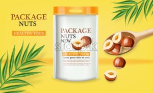 Nuts package vector realistic mock up. Label design. Product placement. 3d illustration - starpik