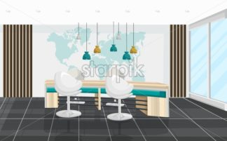 Office desk and chairs meeting room Vector. Business center, call center, bank or technology hub interior. flat style - starpik