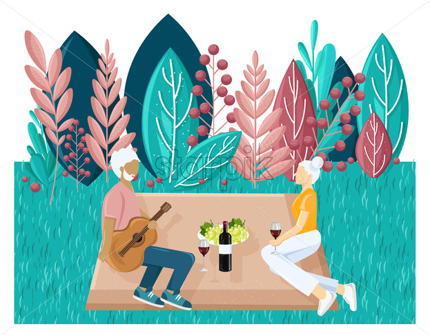 Old couple picnic Vector flat style. Summer holiday leisure. abstract flat background - starpik