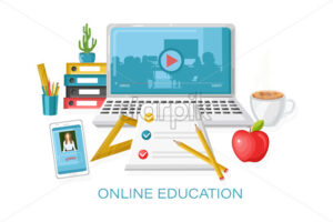 Online courses education Vector. Learning process. notebook and school supplies illustration - starpik