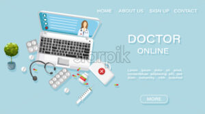 Online doctor medical treatment concept Vector. Note book and medicines flat style. Healthcare brochure page template - starpik