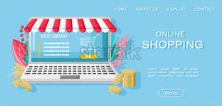 Online shopping notebook and money Vector flat style. Retail concepts promotion shipping good - starpik