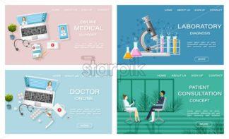 Online treatment medicine and healthcare concept Vector. Patient consultation. Laboratory and medicine prescriptions. flat style templates set illustration - starpik