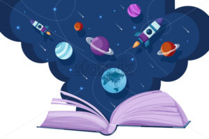 Open book universe reading fantasy Vector flat style. Creativity education reading concept - starpik