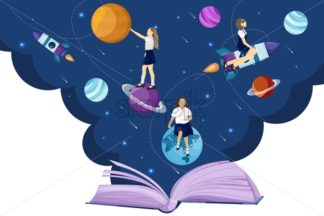 Open book universe reading fantasy Vector flat style. Creativity school kids education reading concept - starpik