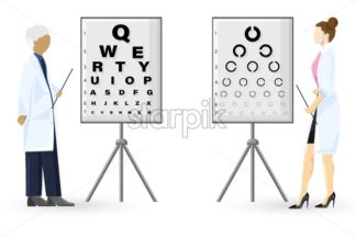 Ophthalmology examination Vector flat style. Doctors healthcare concept. template illustration - starpik