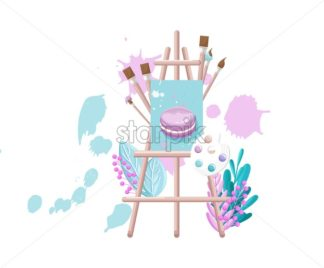 Painting board Vector watercolor. Painting brushes and creative decor - starpik