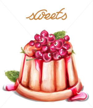 Panna cotta dessert with currant fruits Vector watercolor. Summer desserts vintage style - starpik