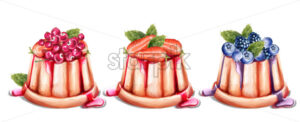 Panna cotta dessert with fruits Vector watercolor. Summer desserts vintage style - starpik