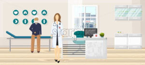 Patient at doctor consultation Vector. Medical office. Medicine and healthcare concept. flat style template illustration - starpik