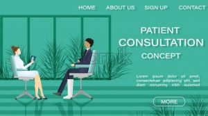 Patient at doctor consultation Vector. Online treatment. Medicine and healthcare concept. flat style template illustration - starpik