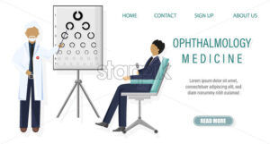 Patient ophthalmology examination Vector flat style. healthcare concept. template illustration - starpik