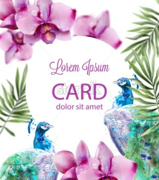 Peacock and Orchid flowers Vector watercolor. Summer floral pattern background - starpik