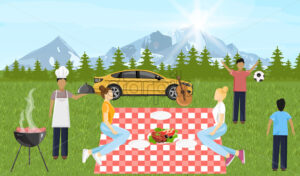 People at picnic Vector. Family playing, enjoying BBQ and leisure time. Mountain view Flat style - starpik