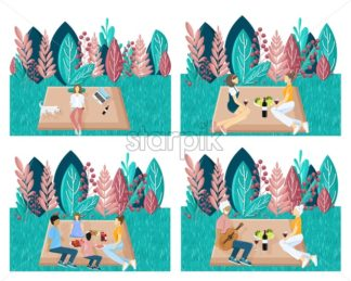 People having picnic in the park. Playing, enjoying BBQ and leisure time. Template set collection. Abstract Flat styles set illustration - starpik