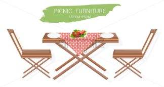 Picnic furniture set Vector flat style. Table and chairs decor design - starpik