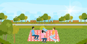 Picnic park Vector. People playing, enjoying BBQ and leisure time. Flat style - starpik