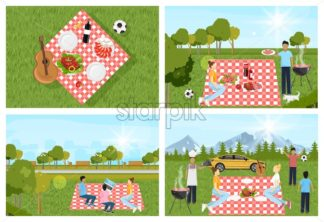 Picnic park set outdoors Vector. People playing, enjoying BBQ and leisure time. Flat style - starpik