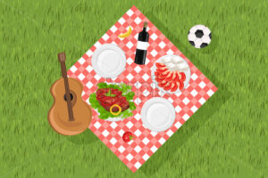 Picnic set Vector. Food and music guitar on green grass. set collection. flat style - starpik