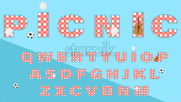 Picnic text gingham pattern Vector. Lettering alphabet abstract illustration - starpik