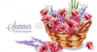 Poppy and lavender flowers in a basket Vector watercolor. Colorful summer decoration - starpik