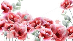 Poppy pink flowers background Vector watercolor. Summer floral decor frame - starpik
