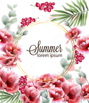 Poppy pink flowers card Vector watercolor. Summer floral decor round frame - starpik