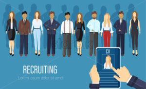 Recruiting agency people Vector flat style. CV analyzing business criteria concept. Job employment candidates - starpik