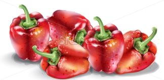 Red pepper vector watercolor. Fresh healthy vegetables isolated on white - starpik