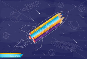 Rocket colorful crayons Vector flat style. Creativity school kids education concept - starpik