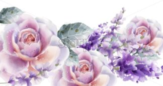 Rose and tulips card watercolor Vector. Spring summer floral bouquet. Wedding ceremony invitation decor. Pastel lavender color - starpik