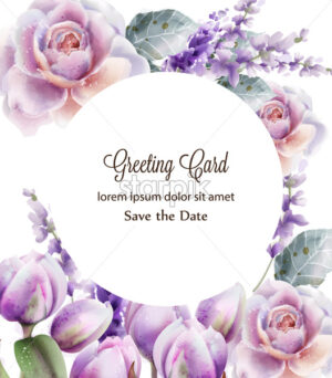 Rose and tulips card watercolor Vector. Spring summer floral bouquet. Wedding ceremony invitation decor. Pastel lavender colors illustration - starpik