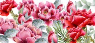 Rose flowers background Vector watercolor. Spring summer pattern. Floral delicate decor - starpik