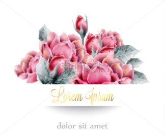 Roses flowers bouquet Vector watercolor frame. Delicate floral decor. Wedding card with pink fusion - starpik