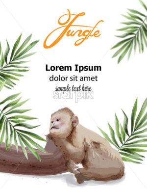 Sad monkey Vector watercolor. Tropic jungle cover page - starpik