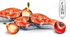 Salmon and veggies Vector watercolor. Fresh fish with onion and tomatoes. Delicious healthy meal illustration - starpik