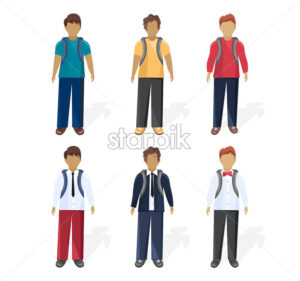 School boy set collection Vector flat style. Different outfits styles - starpik