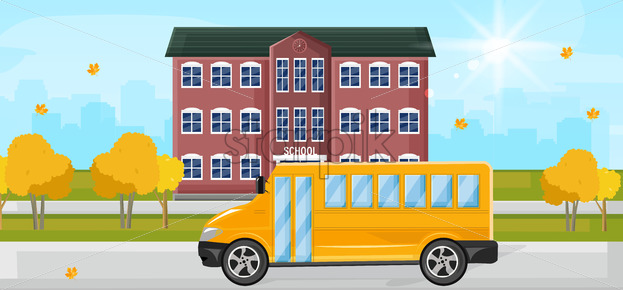 School bus at the school entrance Vector flat style. Autumn fall background - starpik
