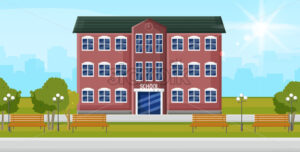 School entrance Vector. Education facade building. Poster template back to school concept flat style - starpik